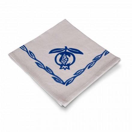 Servet in gemengd linnen met handafdruk Uniek stuk gemaakt in Italië, 6 stukken