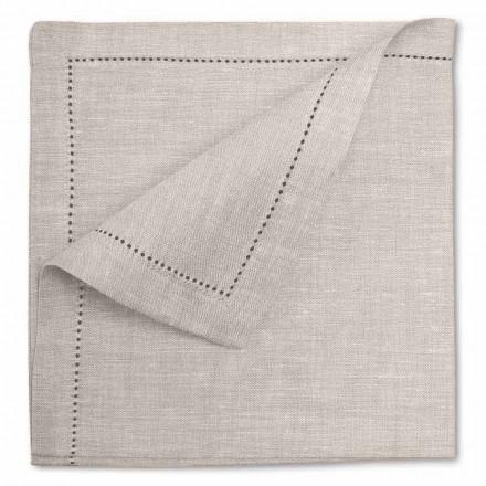 Wit of natuurlijk puur linnen servet Made in Italy, 2 stuks - Chiana