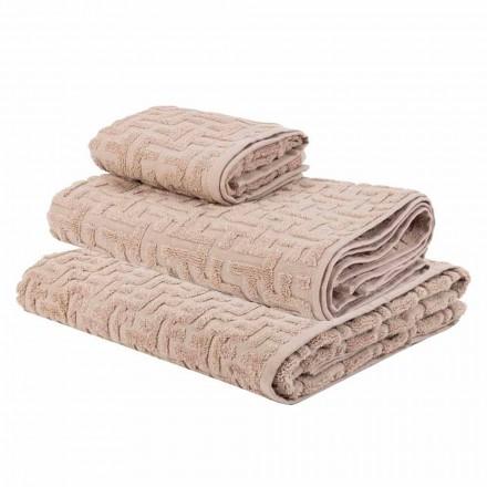 Trio van badhanddoeken in badstof Katoenen handdoek, gezicht en gast - Ginestra