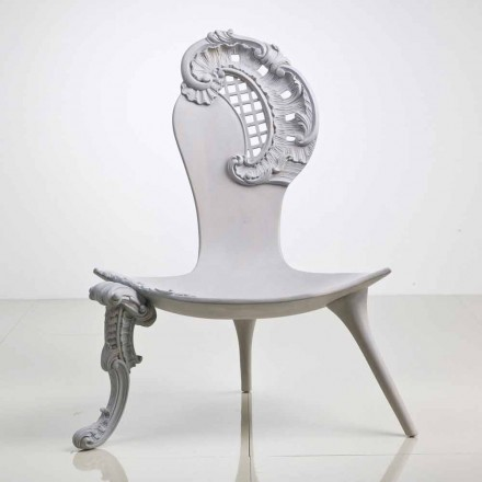 Throne hand gesneden massief eiken grijs ontwerp, Leon