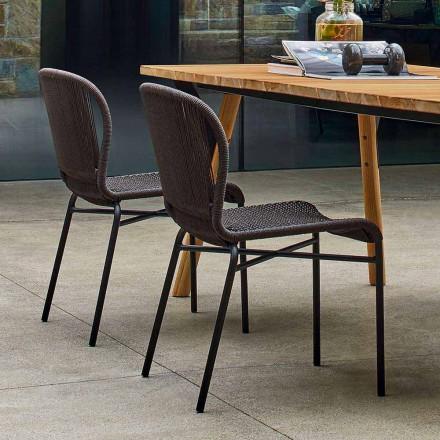 Varaschin Cricket openluchtstoel modern met de hand geweven, 2 stuks