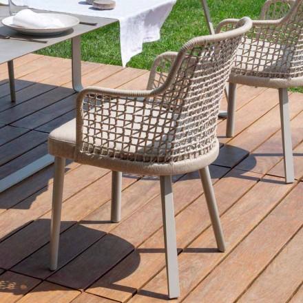 Moderne moderne fauteuil Varaschin Emma in stof en aluminium