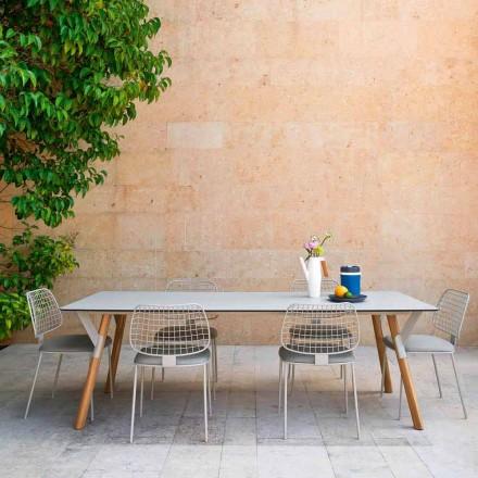 Varaschin Link tuintafel met teak houten poten, H 75 cm
