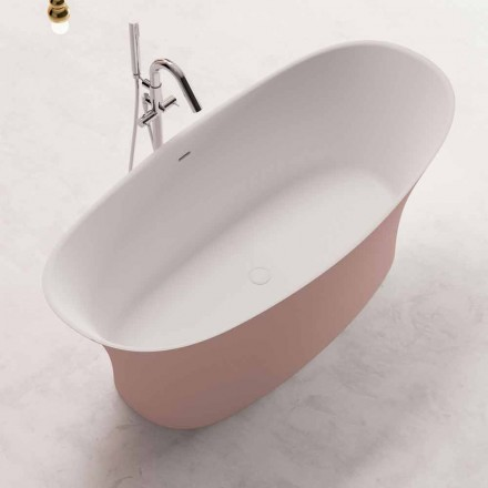 Tweekleurige vrijstaande badkuip, Design in Solid Surface - Look