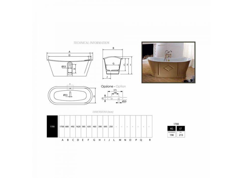 Badkuip freestanding gietijzer geschilderd en ingericht Allen