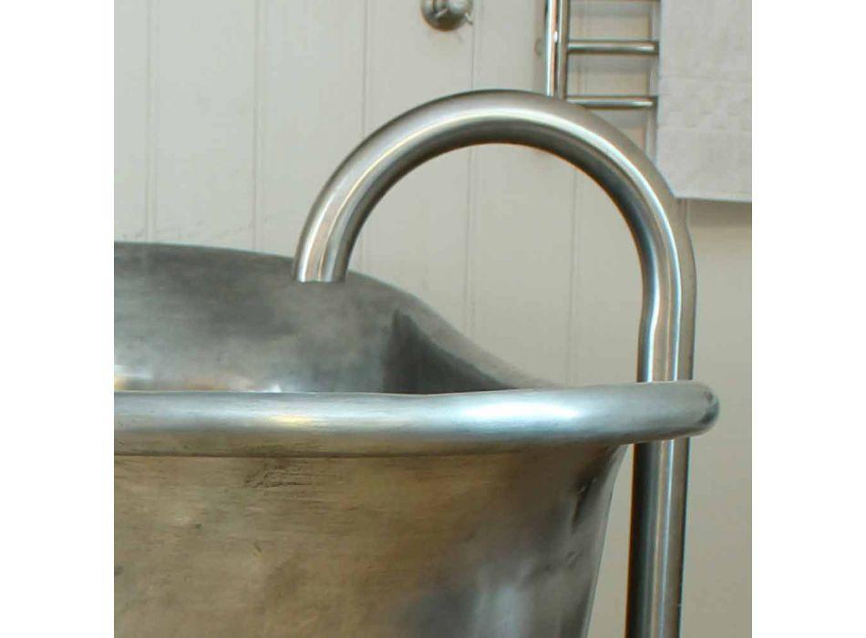 Bad vrijstaand koperbad afgewerkt nikkel Julia