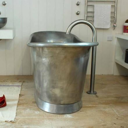 Badkuip freestanding koper badkamer afgewerkt in wit ijzer Julia