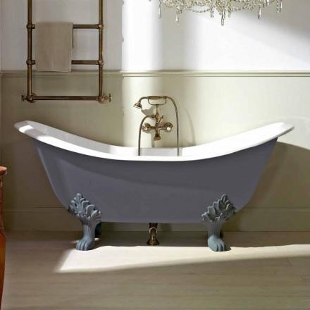 Vintage vrijstaand bad met voeten, in gietijzer - Nadine