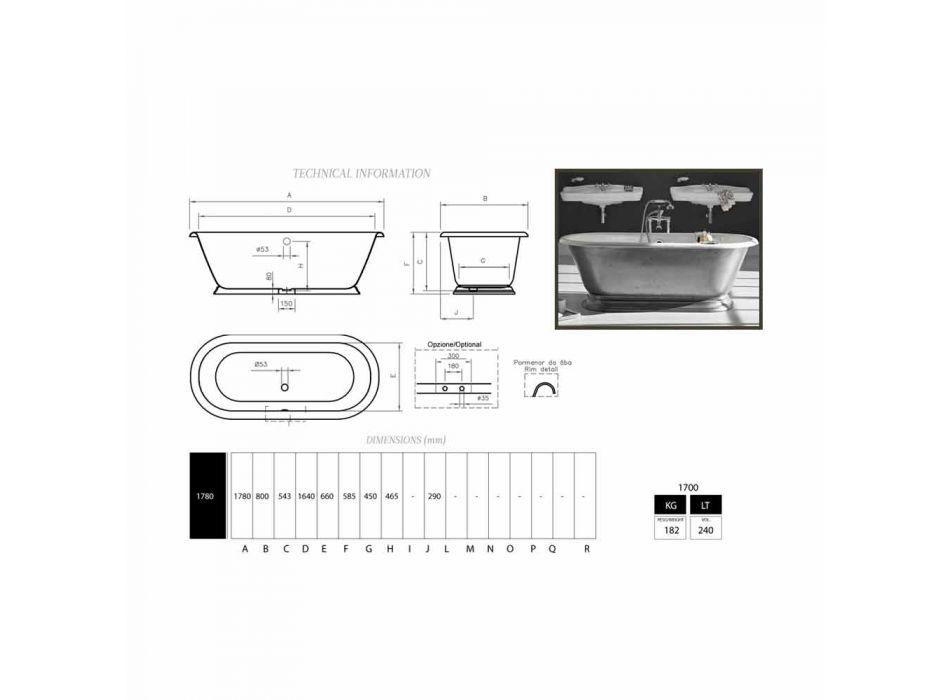 Bath ontwerp in gietijzeren bad met Pierce glanzende afwerking