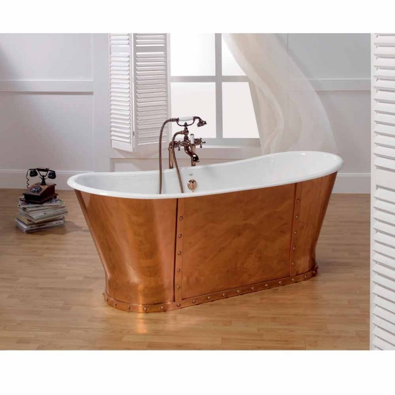 Badkuip geplateerd gegoten ijzerbad extern Henry koper