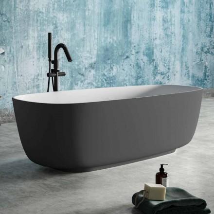 Vrijstaande badkuip Twee kleuren grijs, in Solid Surface - Canossa