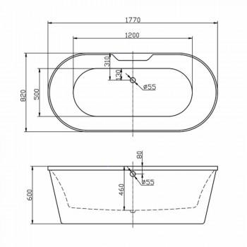 Bath witte vrijstaande acryl 1770x820 mm in juni, modern design