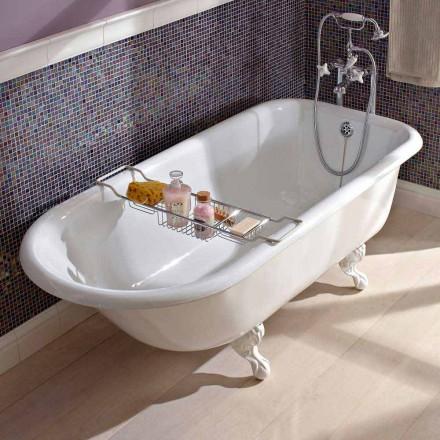 Vintage vrijstaande design badkuip in wit gietijzer, gemaakt in Italië - Marwa