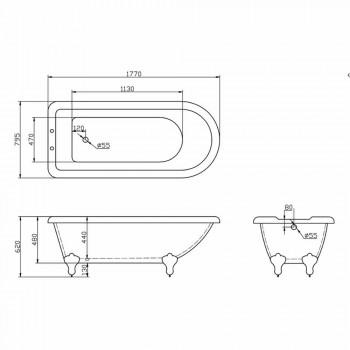 Bath ontwerp vrijstaande wit acryl Sunset 1770x795 mm