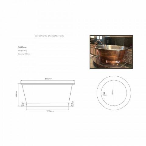 Bath round vrijstaande koper geplateerd ijzer bianco Vanessa