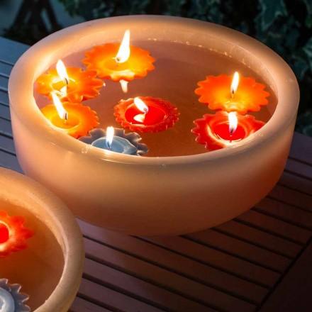 Ronde wasbadkuip met gekleurde drijvende kaarsen Made in Italy - Utina