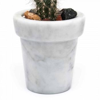 Afgeronde pot met ontwerp in wit Carrara-marmer gemaakt in Italië - winderig