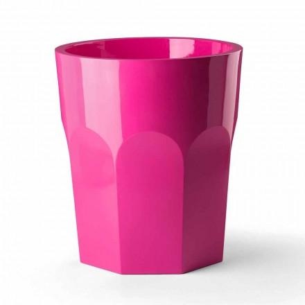 Hoge decoratieve vaas met glazen vorm in polyethyleen Made in Italy - Pucca