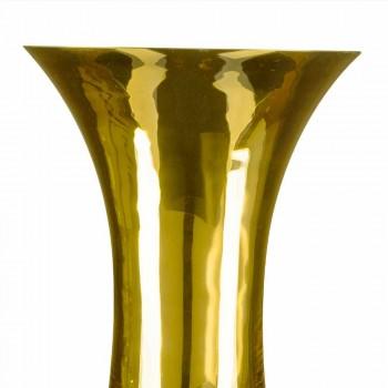 Ambachtelijke vaas in wit geblazen glas of 24k goud gemaakt in Italië - Canberra
