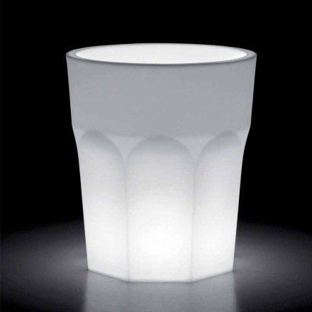 Heldere decoratieve polyethyleen vaas met LED-licht Made in Italy - Pucca