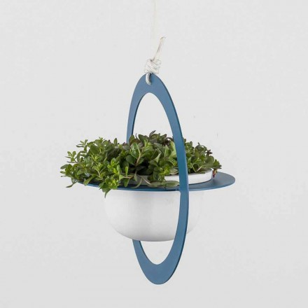 Hangende bloemenvaas in staal en keramiek Made in Italy - Leotta
