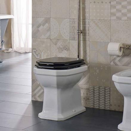 Witte keramische vloer vaas met zwarte zitting Made in Italy - Nausica