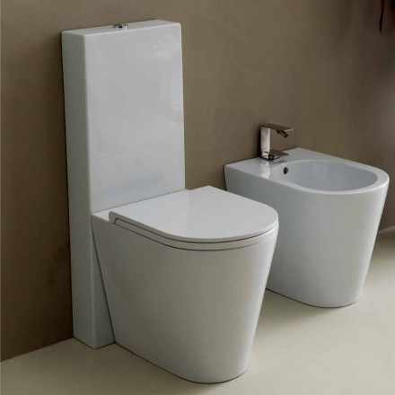 Vaas toilet in modern wit keramiek Zon Ronde 57x37 cm Made in Italy