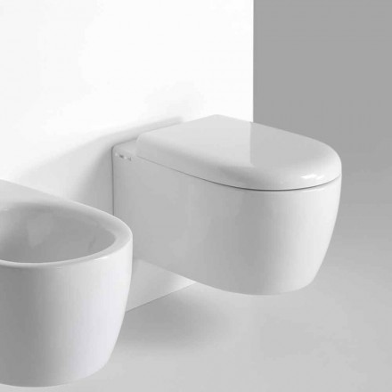 Modern design wandhangend toilet in gekleurd keramiek Made in Italy - Lauretta