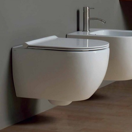 Muur hing toilet in modern design keramiek Star 50x35 Made in Italy