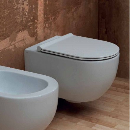 Muur hing toilet in modern design keramiek Star 55x35 Made in Italy