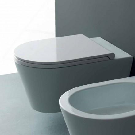 Pot hing toilet in een modern Zon Ronde 57x37 cm keramiek, gemaakt in Italië