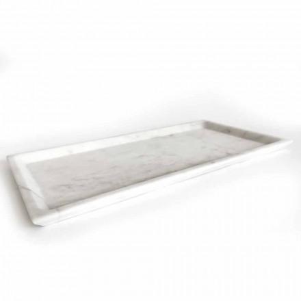 Rechthoekig dienblad in gepolijst wit Carrara-marmer Made in Italy - Alga