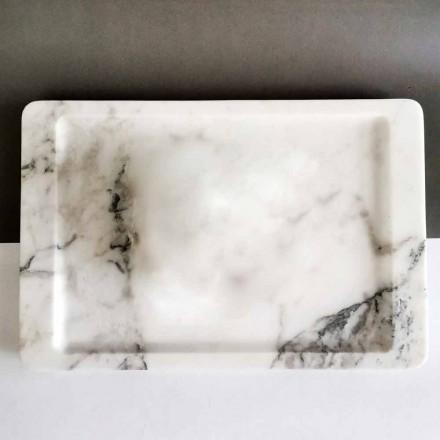 Rechthoekig dienblad van modern geaderd wit marmer, gemaakt in Italië - Stora