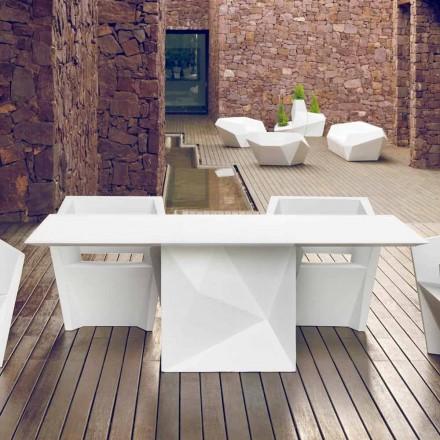 Vondom Faz wit gelakte tuintafel L200xP100cm ontwerp